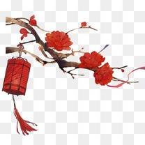 中国风 喜庆 红色灯笼 红花