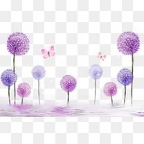 紫色立体蒲公英背景
