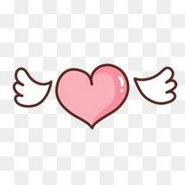 长翅膀的爱心卡通漂浮