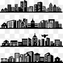 四组横向城市剪影