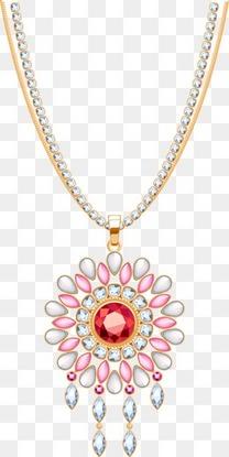 手绘3d红宝石钻石项链