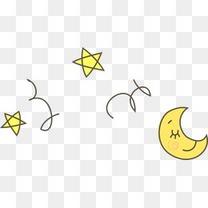 矢量星星月亮漂浮