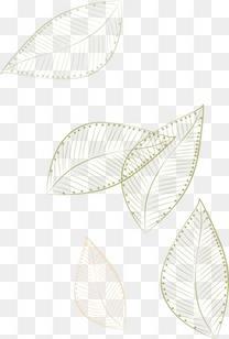 手绘树叶漂浮线稿纹路
