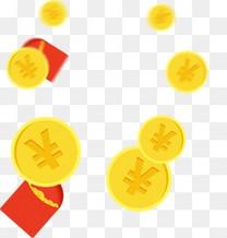 金币漂浮素材,淘宝素材,钱包