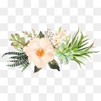 粉嫩小清新水彩花朵