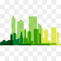 绿色系城市剪影