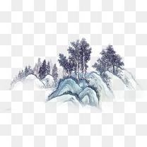 古风墨迹素材水墨图片素材水墨画山树