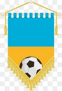国旗足球锦旗标志标签矢量素材