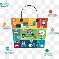 拼图购物袋商务信息图矢量素材下载,