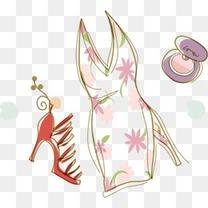 时装少女矢量素材