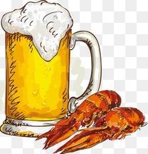 手绘啤酒龙虾