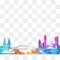 绚丽多彩城市桥梁建筑剪影