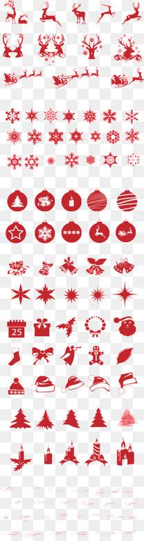 圣诞节驯鹿雪花铃铛PSD素材
