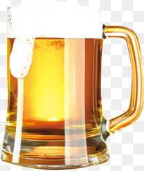手绘杯中啤酒
