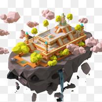 卡通悬浮岛屿