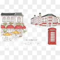 手绘欧洲城市街道插画PSD分层素材