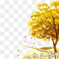 公园落叶秋季