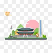 韩国特色建筑世界旅游日素材