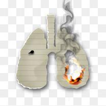 燃烧的肺型纸张创意禁烟图