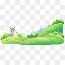 绿色草地风车