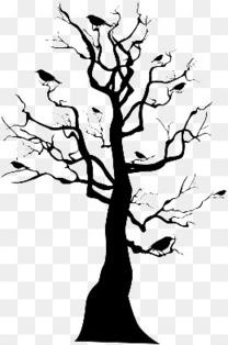万圣节黑树剪影
