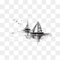 中国风水墨船