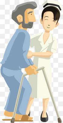 卡通护士搀扶病人