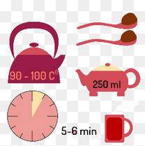 卡通红色茶壶和杯子