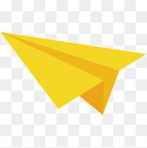 黄色纸飞机矢量图