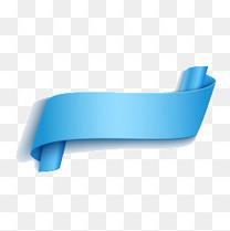 蓝色丝带标签矢量图片