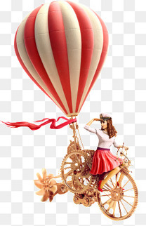 红色调热气球机械创意自行车