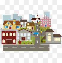 卡通城区街景图