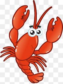 手绘卡通小龙虾
