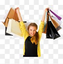 购物女人shopping打折元素