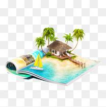 创意海岛小屋3D景色