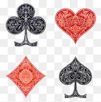 扑克黑红齐全卡片