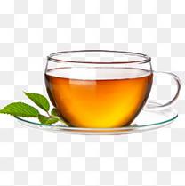 一杯茶和薄荷叶