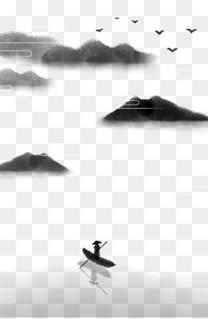 中国风水墨海报 山水油墨