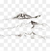 矢量山峰风景速写