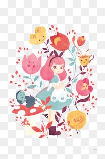 手绘可爱女孩花朵