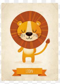 卡通狮子复古卡片