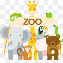 卡通动物矢量图