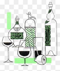 手绘酒和酒杯
