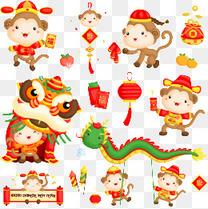 中国新年猴子向量组