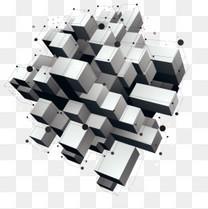矢量悬浮几何物体