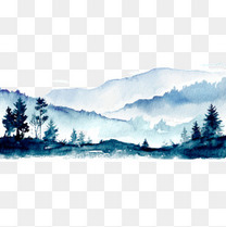 水彩唯美蓝色山峦