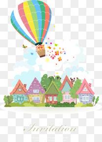装饰童话小城镇和热气球