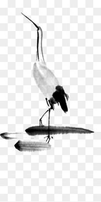 中国风古典水墨山水站立仙鹤