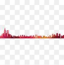 彩色城市剪影