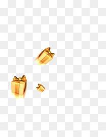 漂浮的金色礼物盒子